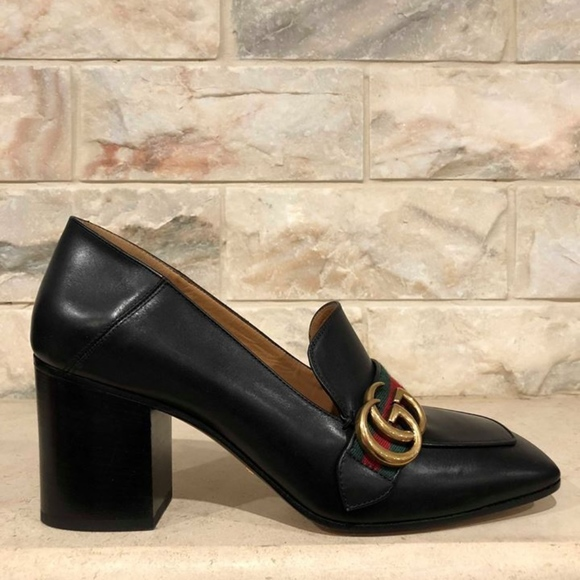 c416ff559 Gucci Shoes | Peyton Web Marmont Black Gold Gg Logo Block | Poshmark